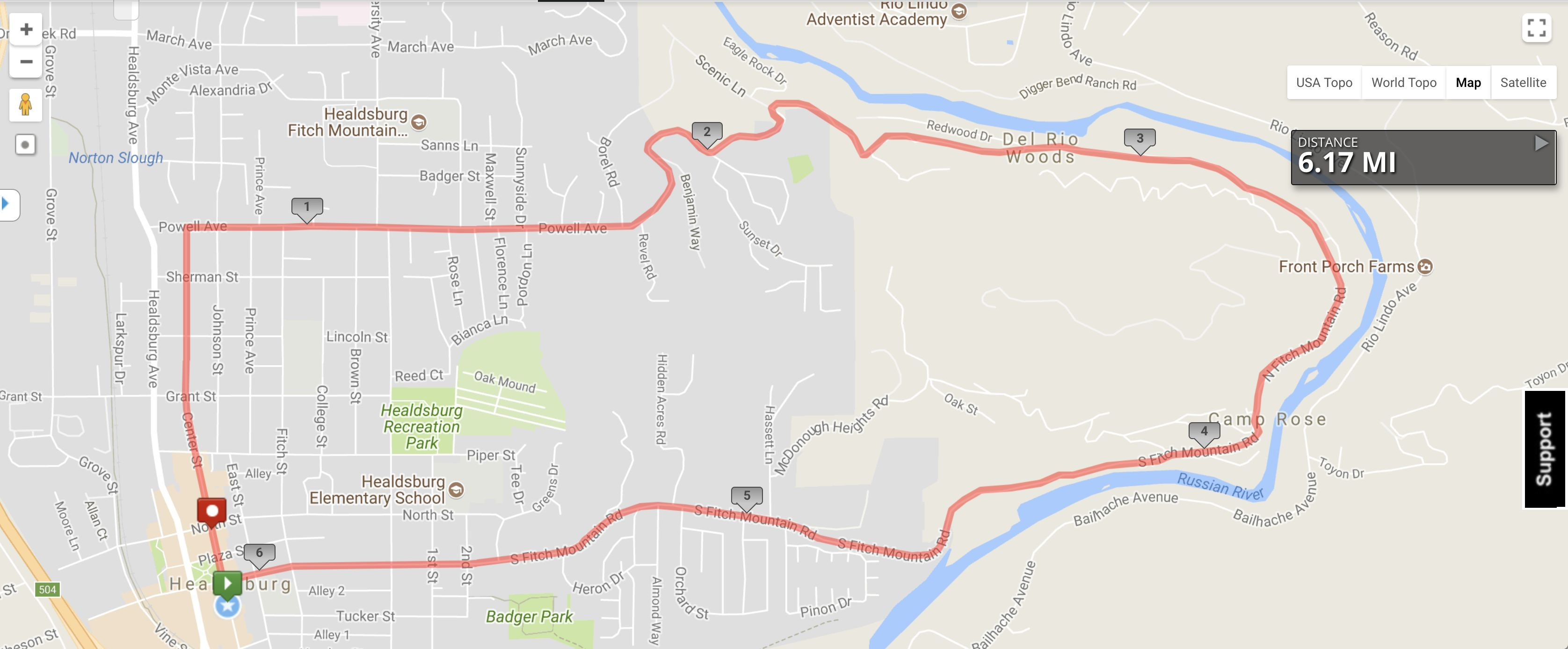Fitch Mountain Footrace Map